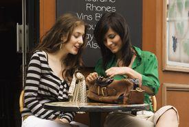 Women talking outside a cafe