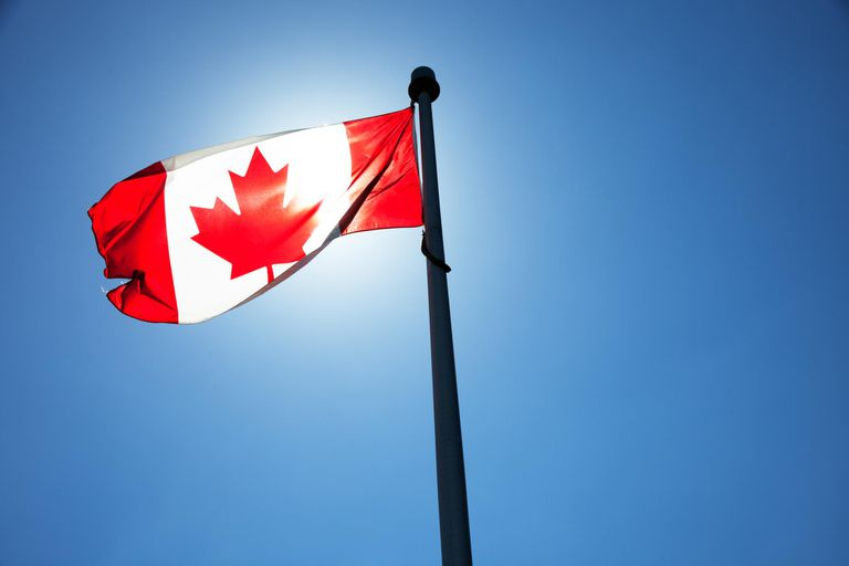 Canadian flag with Sulphur Mountains and townscape in background