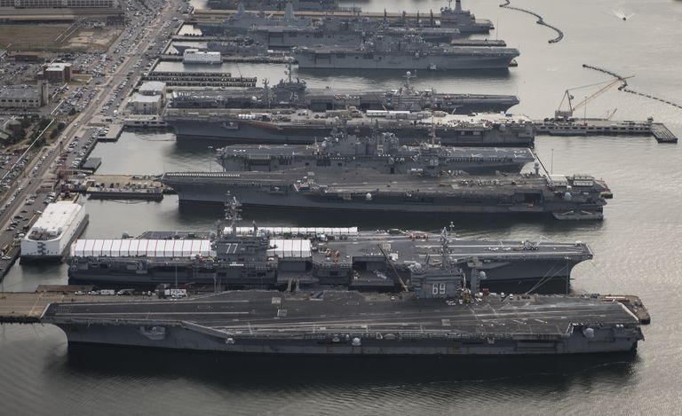 docked aircraft carriers