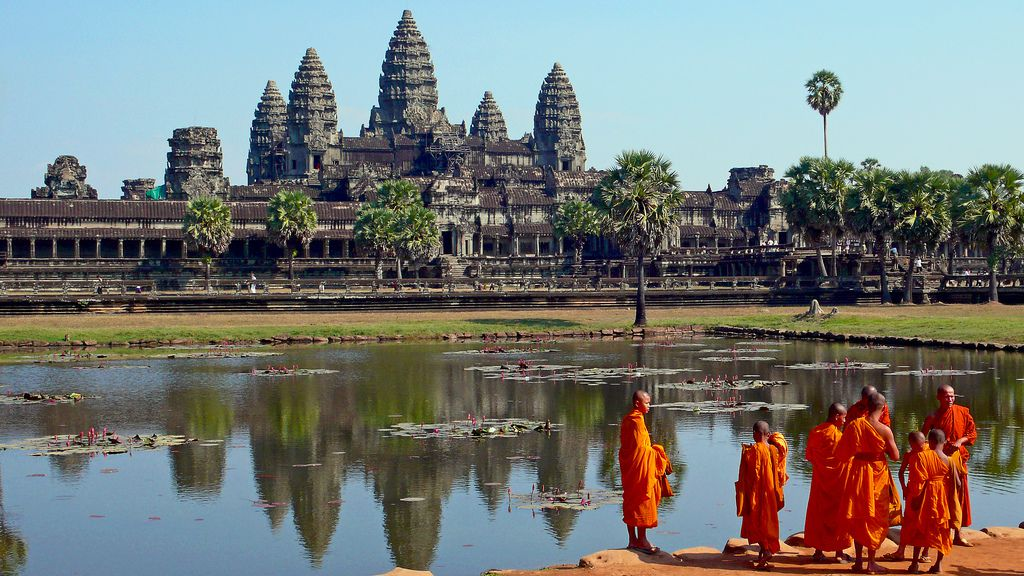 Angkor Palace Complex, with Buddhist Monks