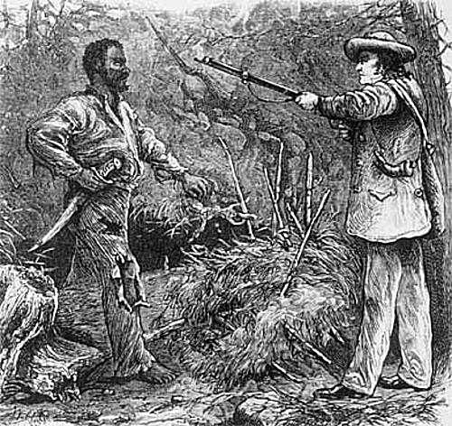 Illustration of Nat Turner resisting a white man.