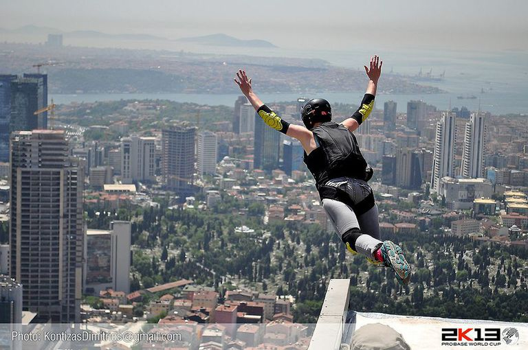 The author jumps from Istanbul's Sapphire Tower.