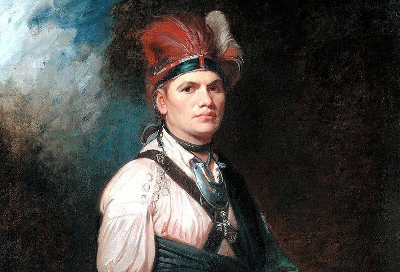 Joseph Brant in Native American dress with headdress