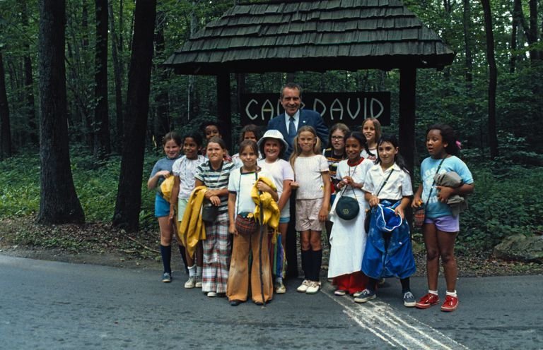 Richard Nixon with Girl Scouts at Camp David