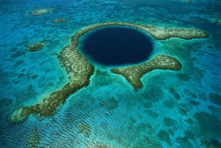 Aerial view of Lighthouse Reef, Blue Hole, Belize