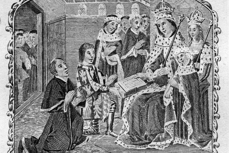 Earl Rivers, son of Jacquetta, gives translation to Edward IV. Elizabeth Woodville stands behind the king.