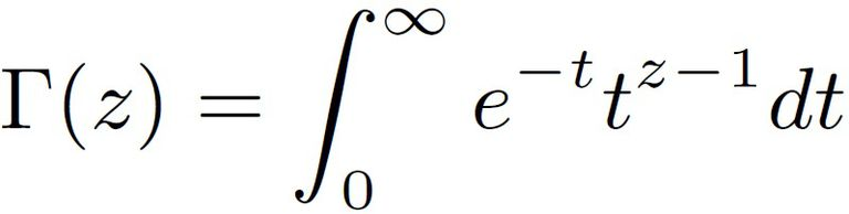 The formula for the gamma function is defined in terms of an improper integral.