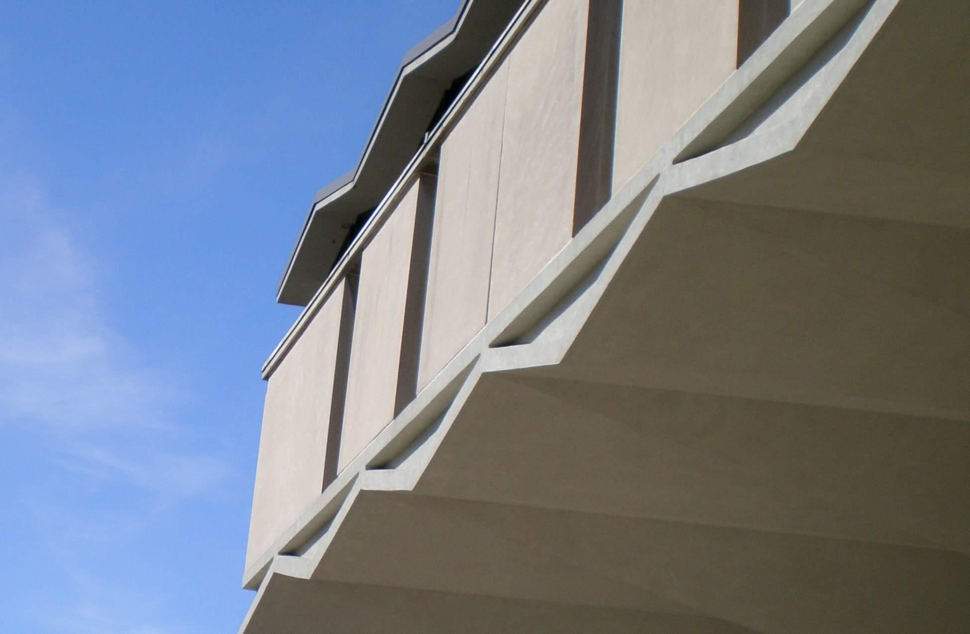 Detalle de la línea del techo, Steinberg Hall, Universidad de Washington, St. Louis