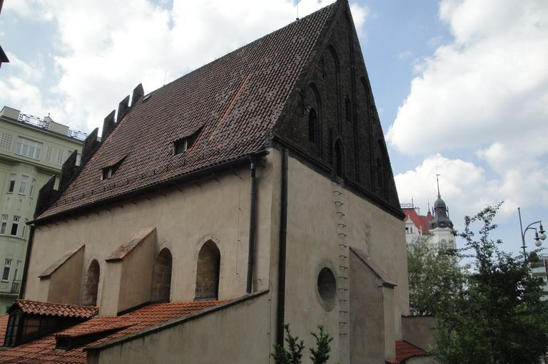 Back View Of Old New Synagogue Altneuschul Gothic Style Steep Roof
