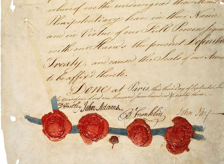 Signatures on the 1783 Treaty of Paris