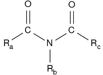 The formula for the imide functional group is RC(=O)NC(=O)R'.