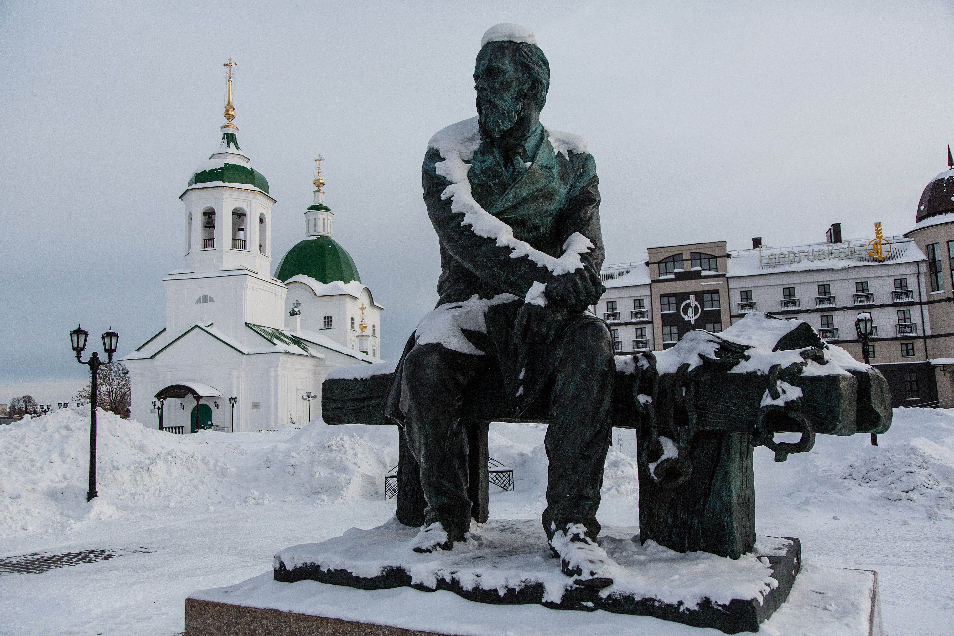 A monument to Fyodor Dostoyevsky in Tolbolsk, Siberia, where he was once imprisioned.