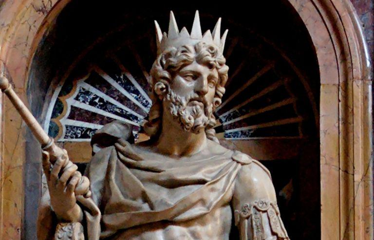 Statue of King David by Nicolas Cordier in the Borghese Chapel of the Basilica di Santa Maria Maggiore.