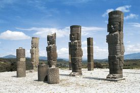 Atlantean warriors, Temple of Quetzalcoatl, archaeological site of Tula, Mexico, Toltec Civilization