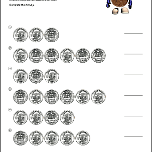 Math and Money Worksheets for Counting Coins