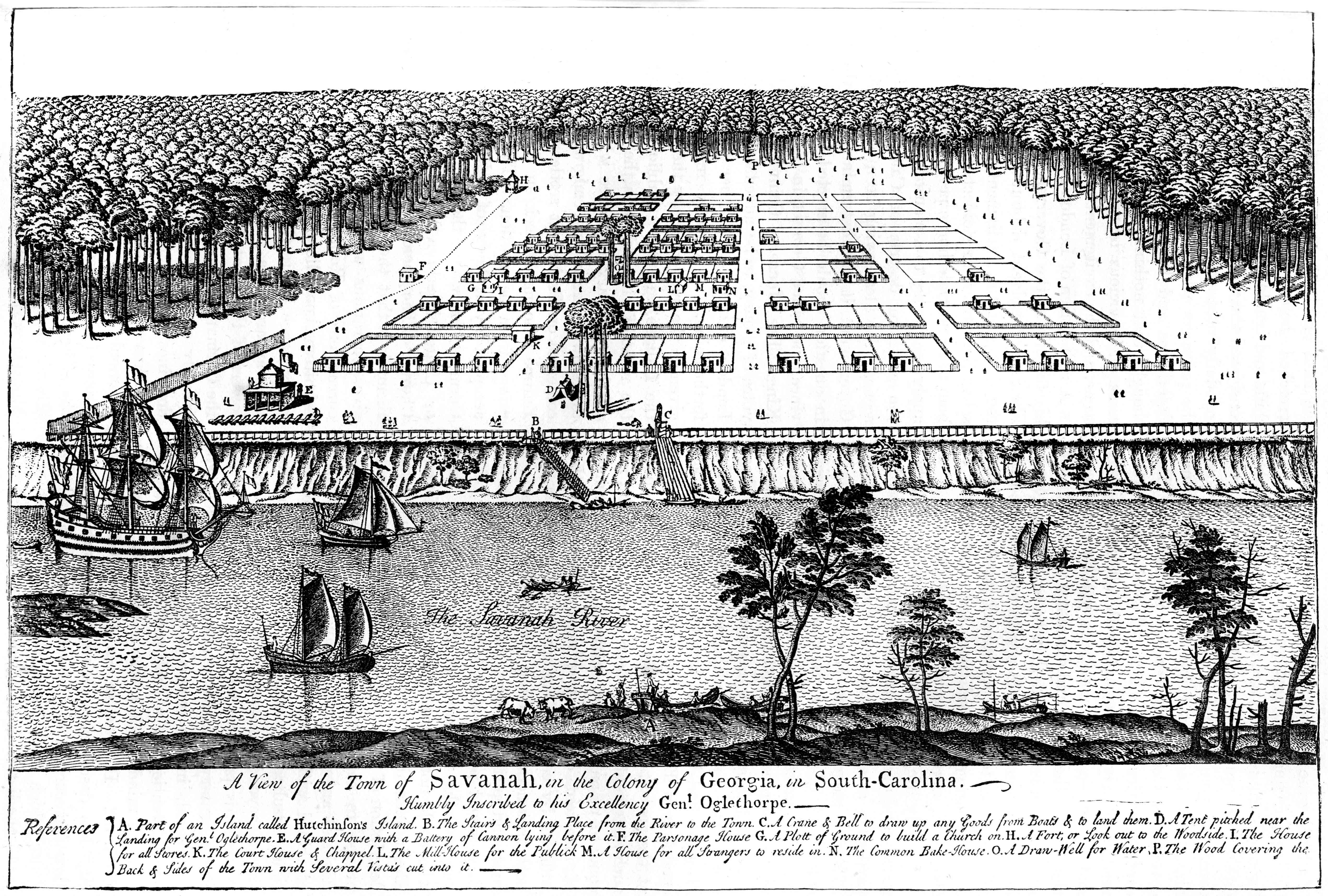 'A view of the town of Savanah, in the colony of Georgia, South Carolina', 1741, (c1880).