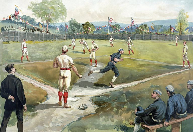 Color print of baseball game in late 1800s
