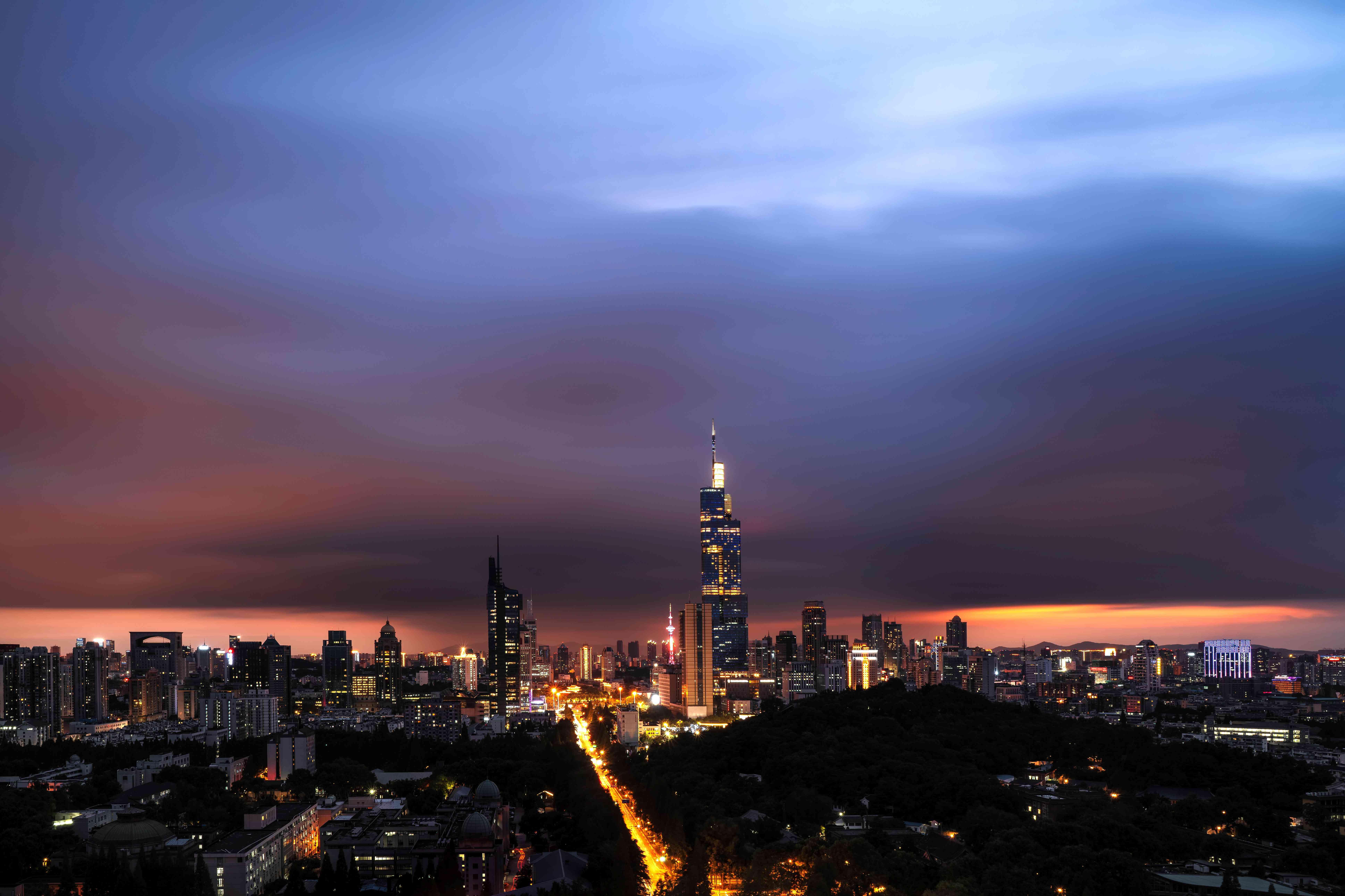 Jiangsu's capital, Nanjing, surrounded by the dark clouds of a typhoon