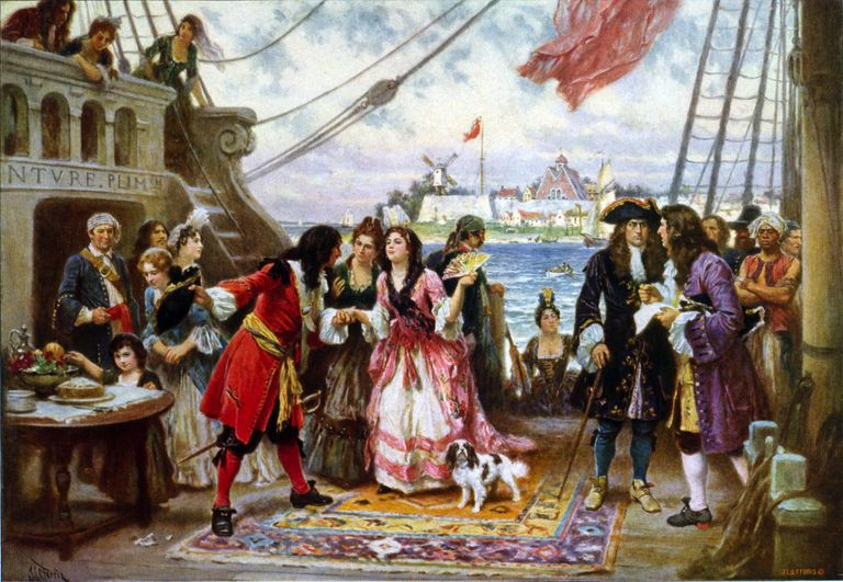 Captain Kidd in New York Harbor, ca. 1920 painting by Jean Leon Gerome Ferris