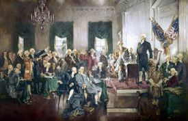 A painting of the 1787 Constitutional Convention