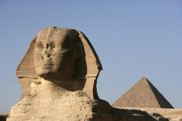 The Sphinx in front of the Pyramid of Chephren