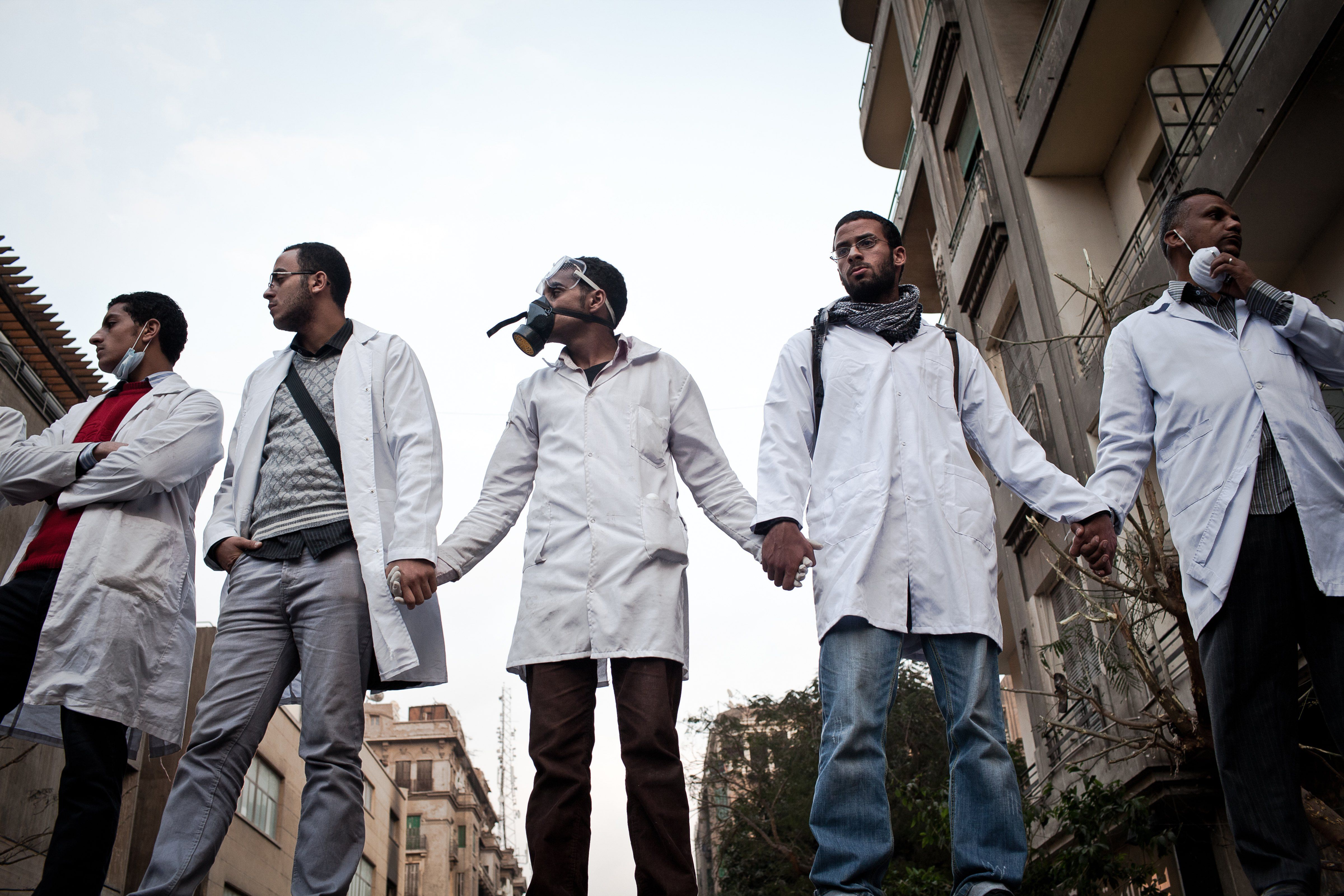 Medical volunteers during the Arab Spring, 2011 in Tahrir Square, Cairo, Egypt