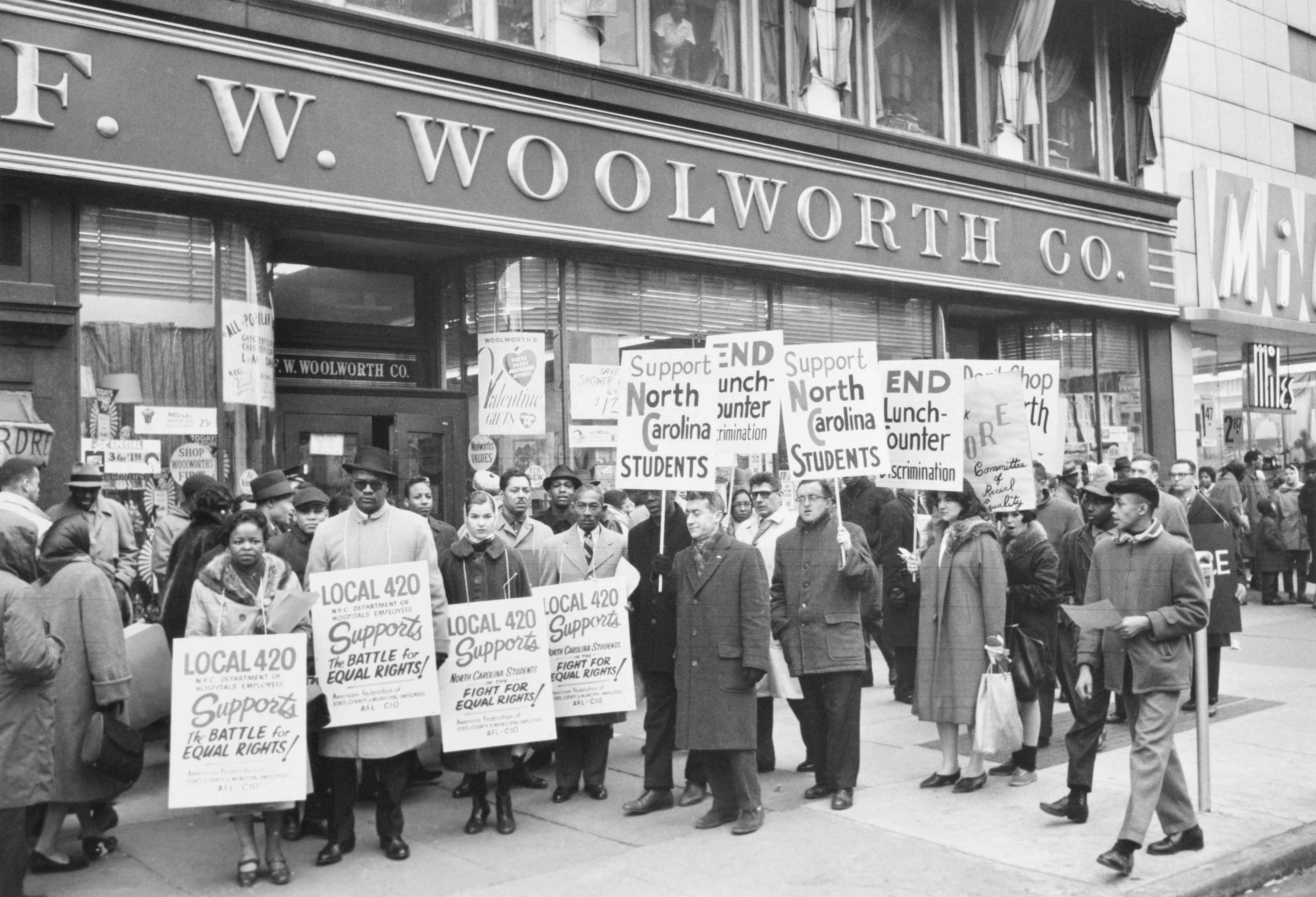 CORE Demonstrators Outside Harlem Woolworth Store
