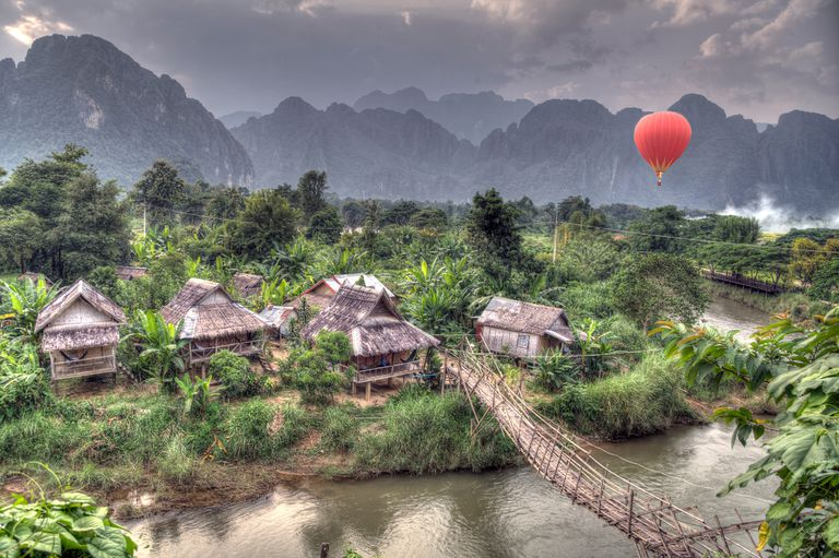 aerial shot of town in Laos