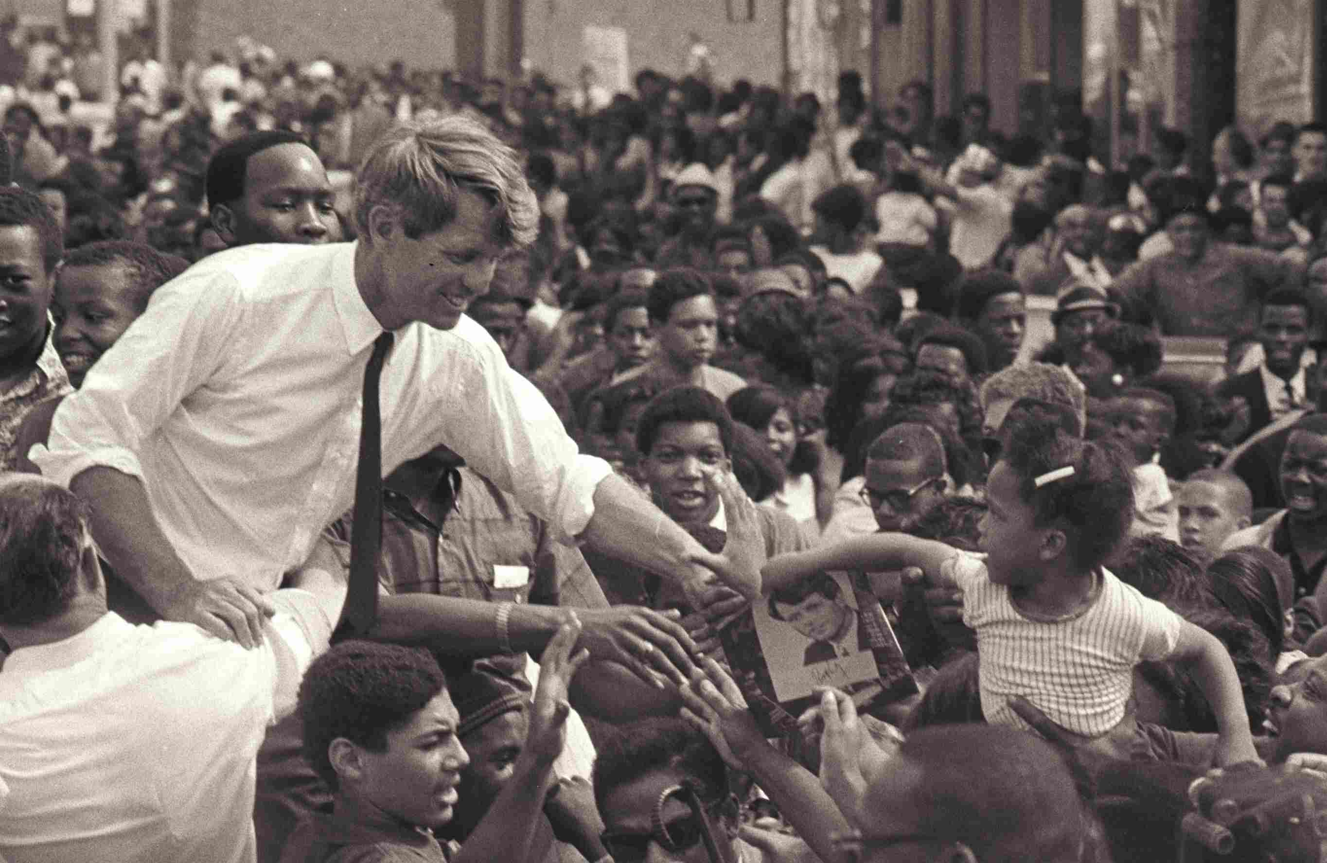 photograph of Robert F. Kennedy campaigning in 1968