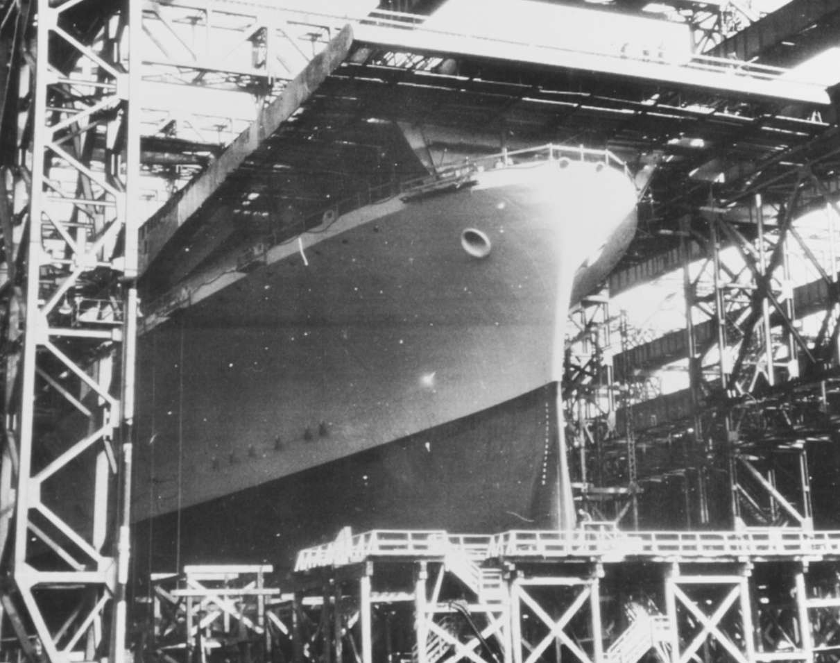 USS Lexington surrounded by scaffolding.