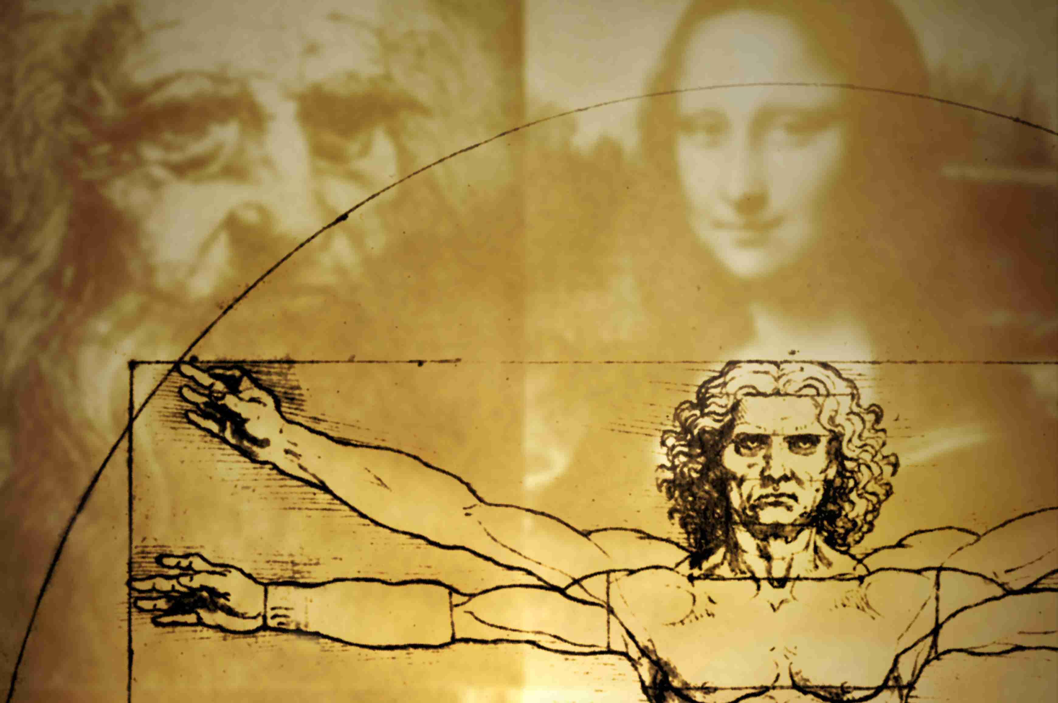 digital composite collage includes Vitruvian Man, Self Portrait, and the Mona Lisa