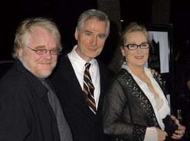 Actor Philip Seymour Hoffman, screenwriter/director John Patrick Shanley and actress Meryl Streep arrive at the 'Doubt' premiere at the Academy of Motion Pictures Arts and Sciences on November 18, 2008 in Beverly Hills, California