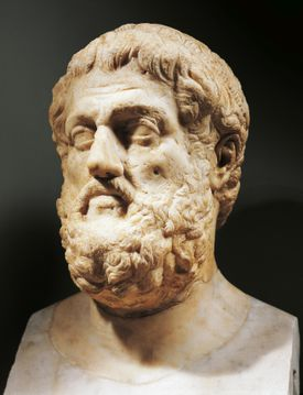 Bust of Sophocles (Colonus, 496 BC - Athens, 406 BC), Athenian playwright, Roman sculpture in marble from the imperial era
