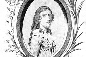 Engraved portrait of Deborah Sampson ca. 1787