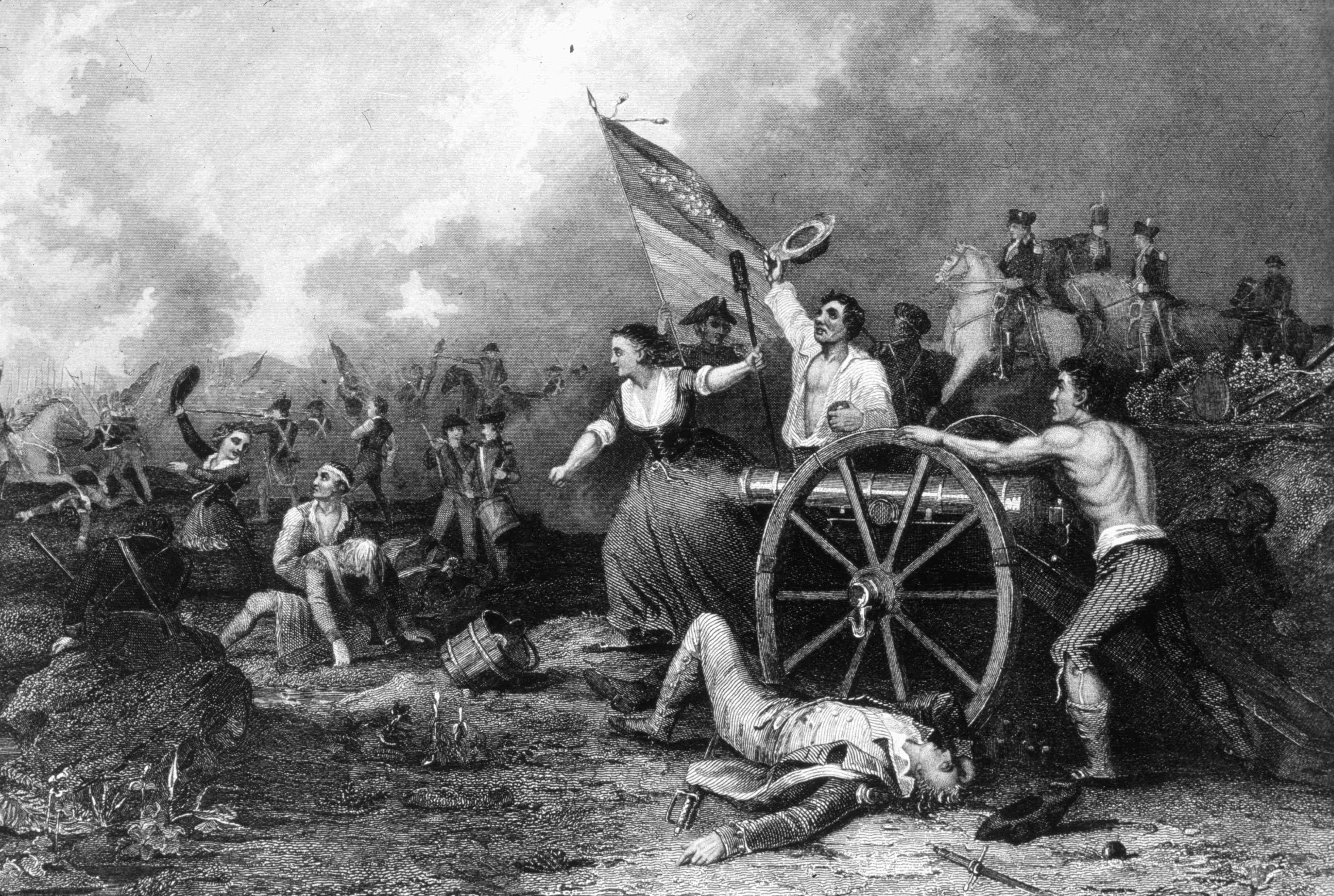Molly Pitcher helping to clean and load a field gun at the battle of Monmouth.