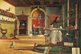 St Augustine of Hippo in his studio, painting by Vittore Carpaccio