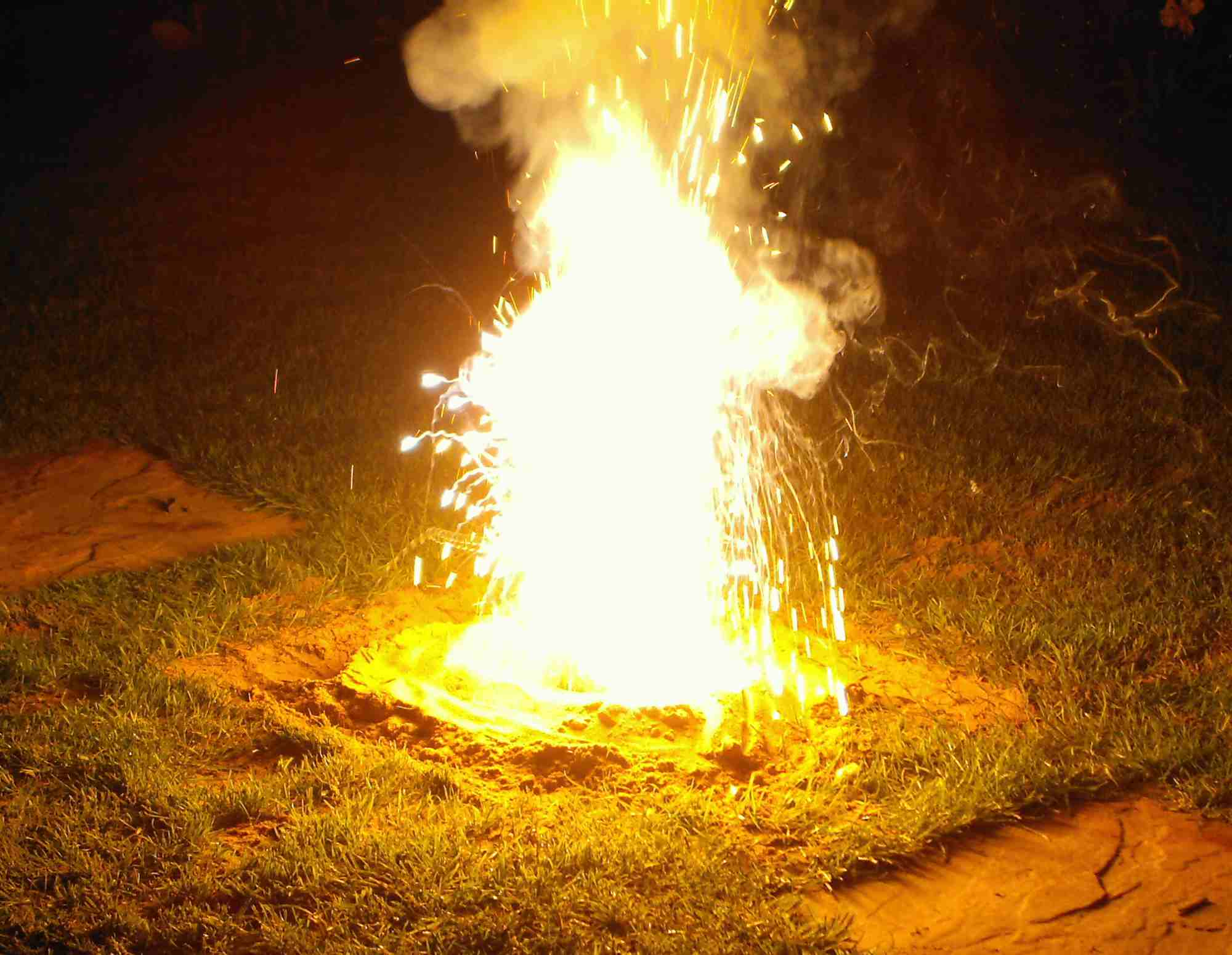 Thermite burning on grass