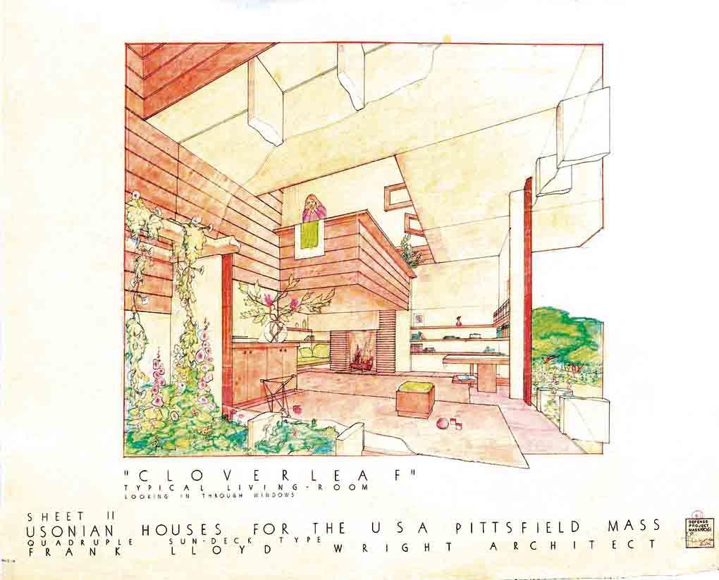 Cloverleaf Quadruple Housing in Pittsfield, Massachusetts was a 1942 project by Frank Lloyd Wright.