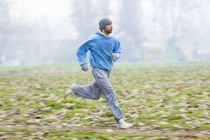 Man running in warm clothes