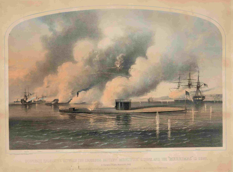 A print depicting the ferocity of the Battle of Hampton Roads.