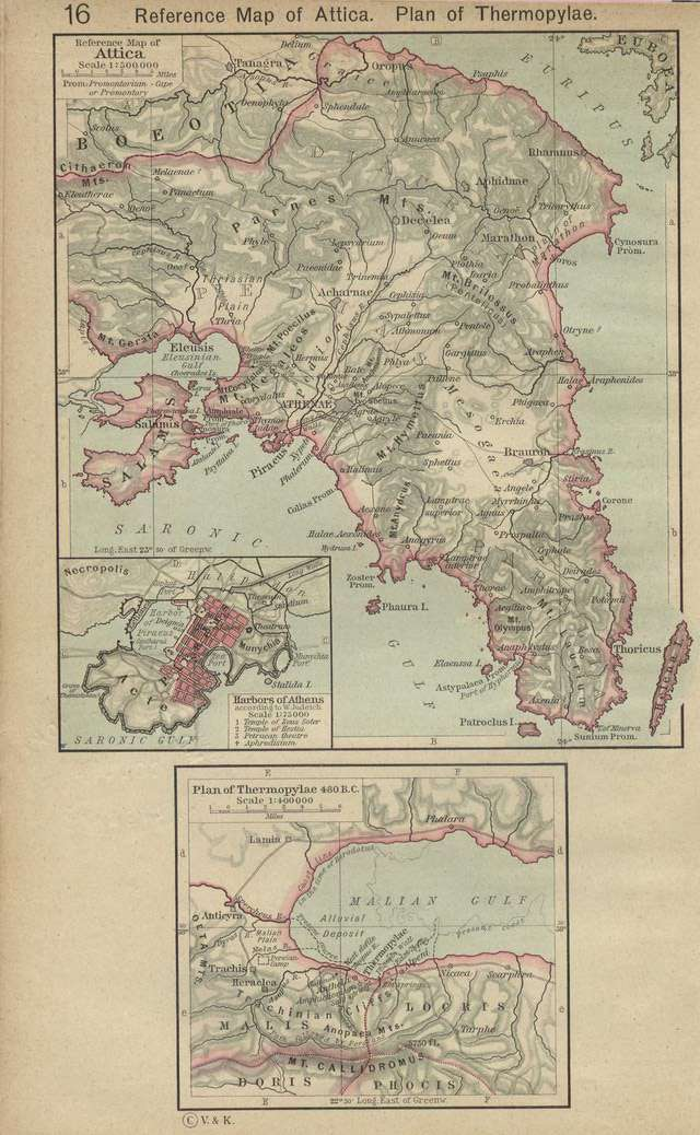 Reference Map of Attica, showing Thermopylae.