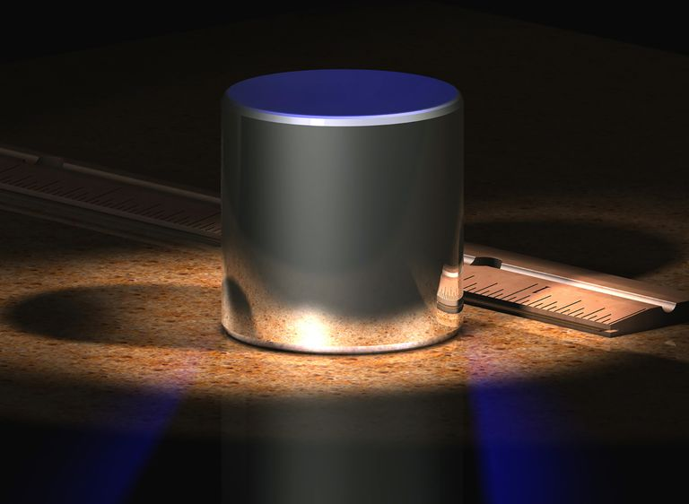 This image depicts the International Prototype kilogram (IPK) standard, which is made from an alloy of 90% platinum and 10% iridium, machined into a cylinder. The IPK is kept at the Bureau International des Poids et Mesures in Sèvres, France.