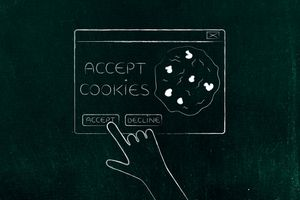 hand about to click on Accept Cookie pop-up message