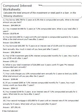 Understanding Compound Interest: Worksheets and Guides