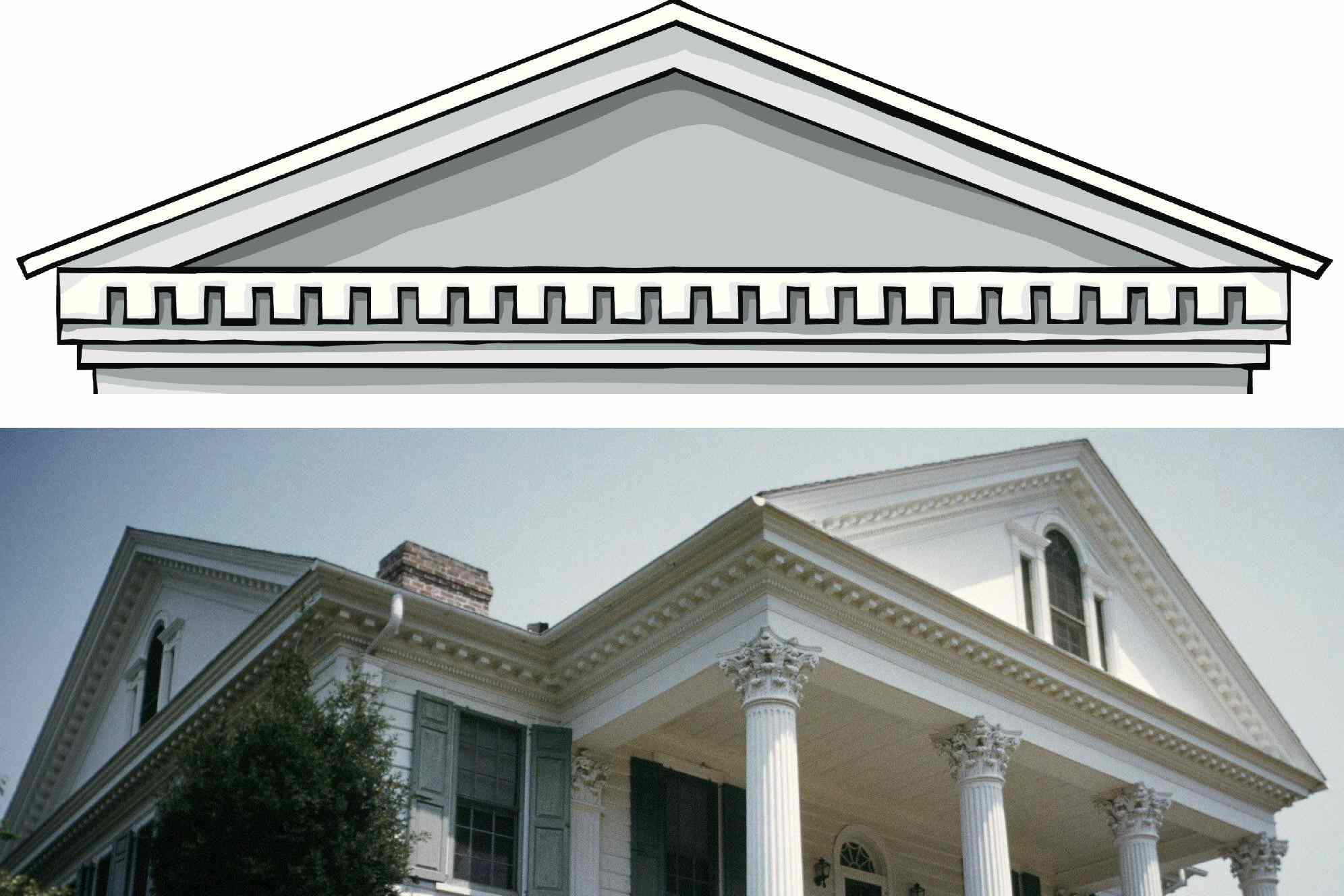 The dentils form a row of squares beneath the flat, bottom line of the triangle