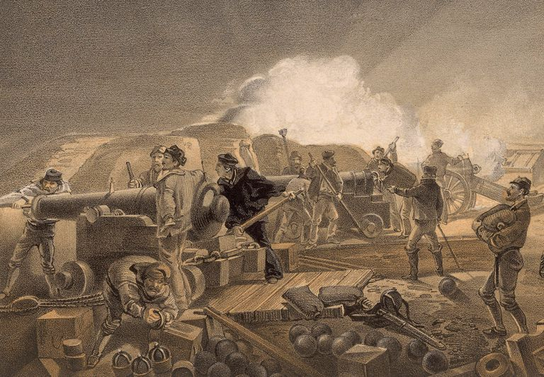 Lithograph of British artillery in the Crimean War