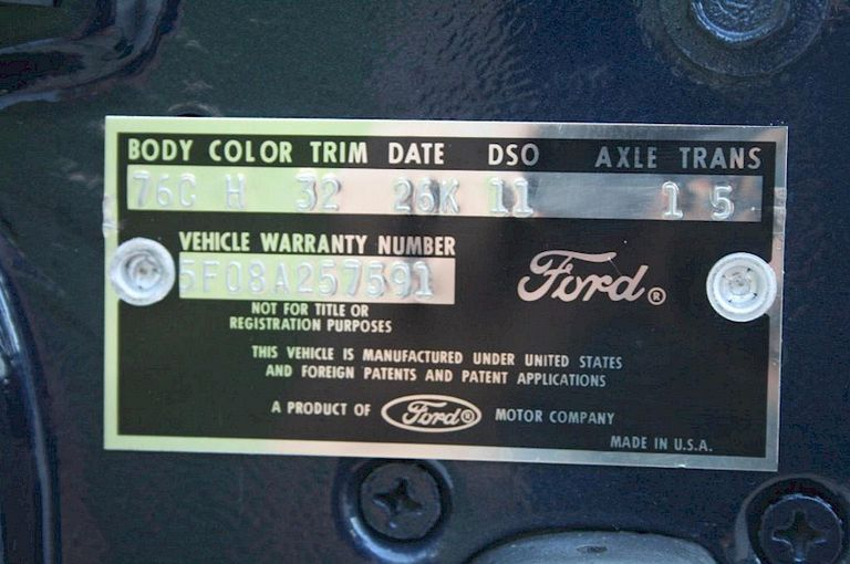 Ford Mustang Door Tag
