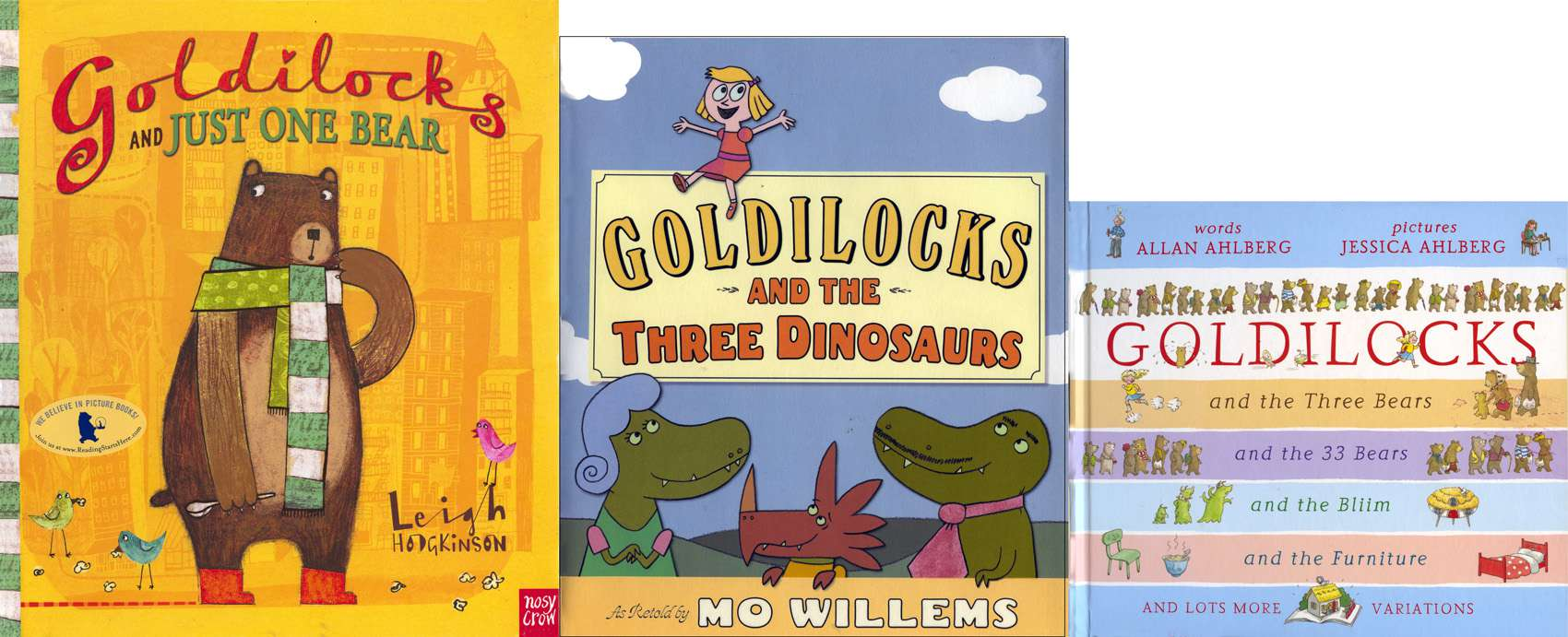 Covers of 3 funny picture book versions of Goldilocks and the Three Bears