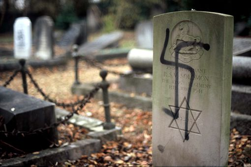 Gravestone of Jewish Soldier Painted with Nazi Swastika