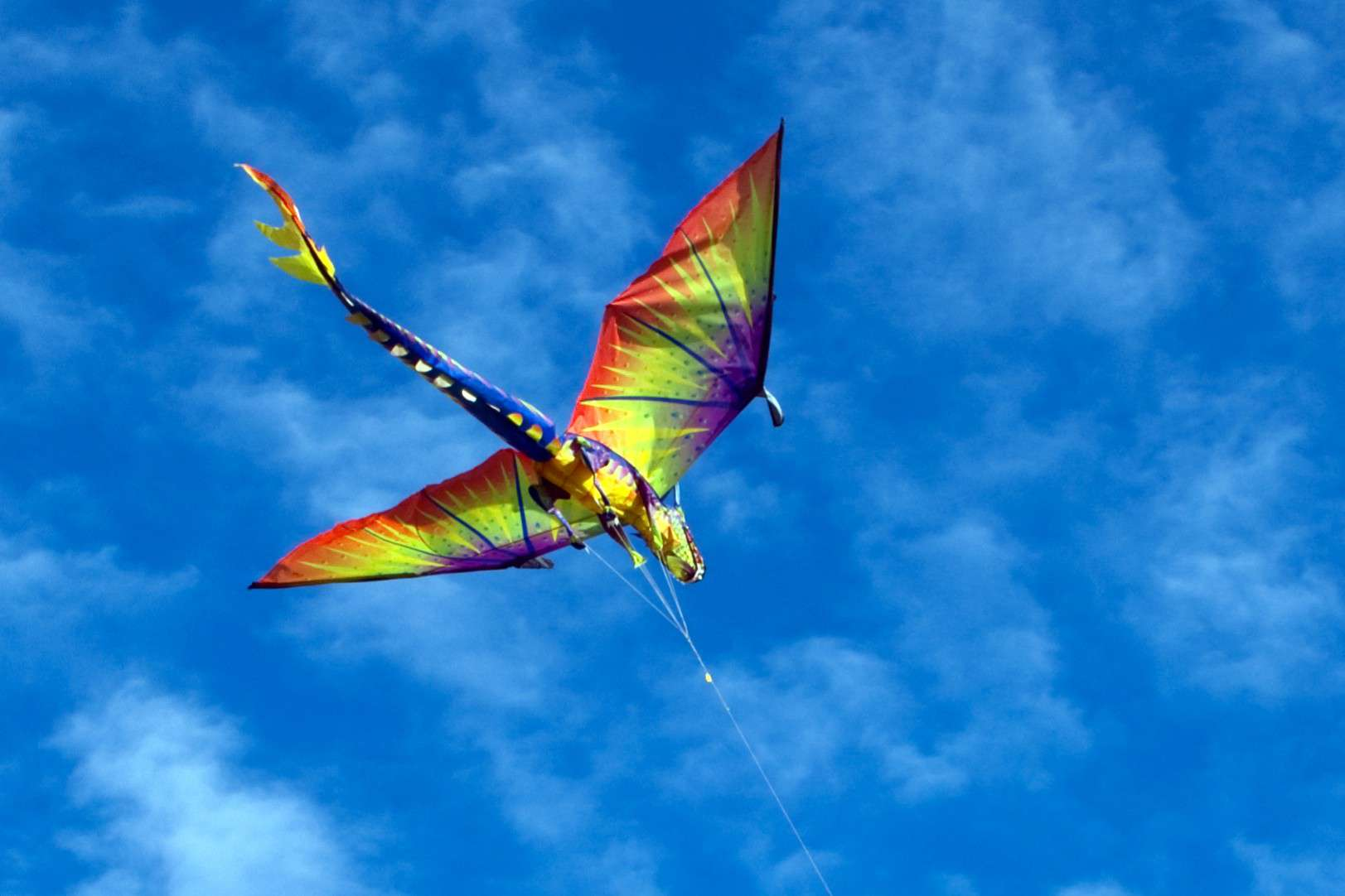 An intricate kite in the shape of a dragon